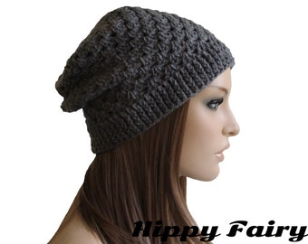 Womans hat , Gray hat ,Womans Gray beanie, Gray slouch beanie, Womans Gray Slouch hat, slouchy Gray beanie, gift for her
