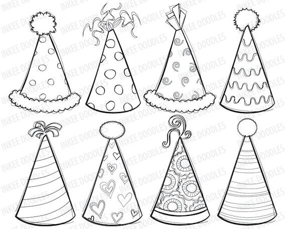 Party Hat Clip Art Black And White