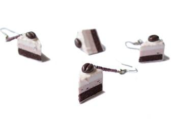 Cake polymer clay earrings Spring earrings Dangle earrings Brown earrings white earrings Food earrings Miniature food Petite Sweet earrings