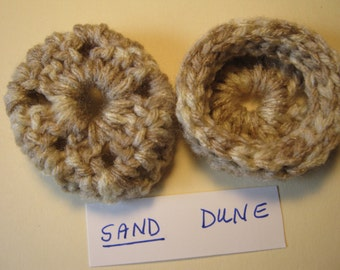 SAND DUNE -  Ear Pads-Cushions-Cookies for Phone Headset, Call Center, Hand-crochetted, NEW.