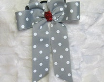 Cheer Bow - Silver/Grey and White Polka Dot Hair Bow with a Red Glitter Center and Long Tails  for Ponytails