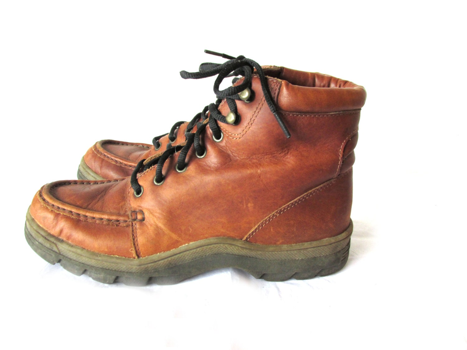 s bass waterproof leather cognac brown boots size