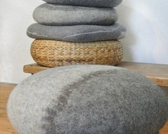 "samesch floor cushion JOHANN - 60x23cm = 23,6""x9"" hand felted pebble filled with spelt husks"