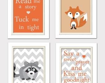 Nursery Quad, Woodland Nursery, Fox Nursery, Set of 4 8X10, Orange, Grey, Read me a story, Listing 0057