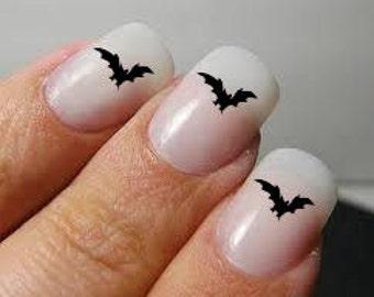 halloween bats  fingernail decals - set of 40