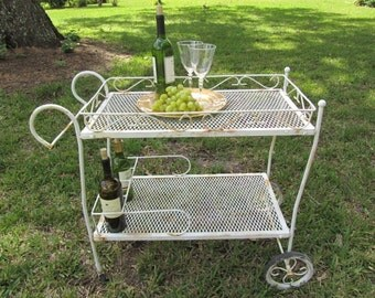 Vintage tea trolley,metal cart,shabby chic furniture,garden cart,iron cart,metal tray,rolling table,