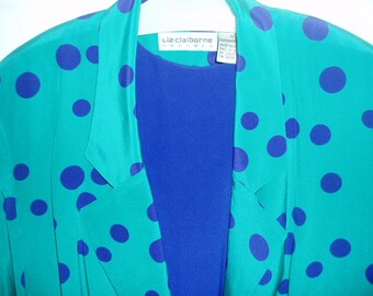 80s Silk LIZ CLAIBORNE Royal Blue Sheath Dress with Turquoise Long Dotted Jacket