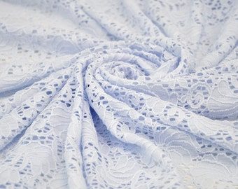 Baby Blue Ocean Lace Fabric Soft Stretchy Lace Fabric by the Yard for Wedding Bridal Bridesmaid Dress Lace Fabric - 1 Yard style 6039