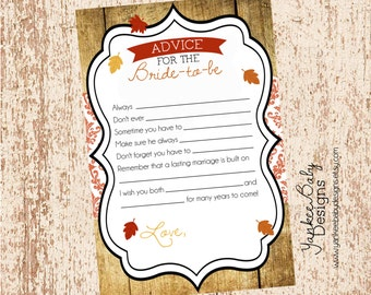 Love Is - Autumn Leaves Theme - Advice For Bride Card