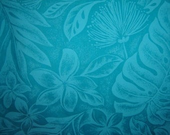 Hawaiian Fabric - Turquoise Floral Print With Leaves on Turquoise
