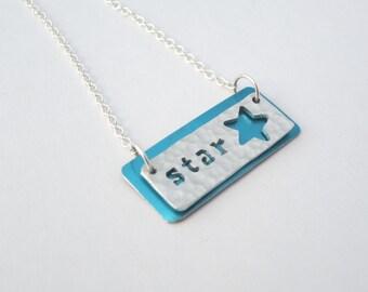 Star textured aluminium necklace