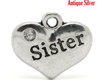 6 Silver Sister Charms, heart, Sister Jewelry, Gift Idea