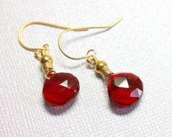 Red Quartz Earrings, Ruby Red. Genuine Crystal Quartz, Wire Wrapped Red Earrings, Red Teardrops, 14k Gold Filled, Red Dangles