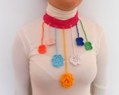 Mixed Color Hand Crochet Flower Necklace Mothers Day Gift