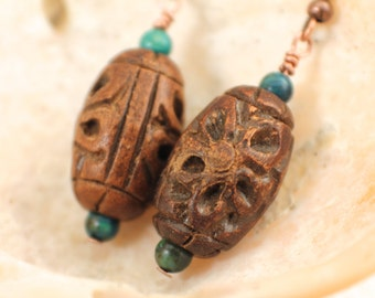 Wooden Flower and Azurite Earrings