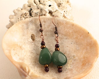 Aventurine, Garnet and Copper Earrings