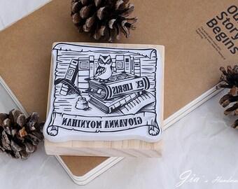 Bookplate Stamp: Hand carved bookplate rubber stamp