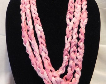 Chunky Crochet Chain Scarf/Necklace in Varigated Pink