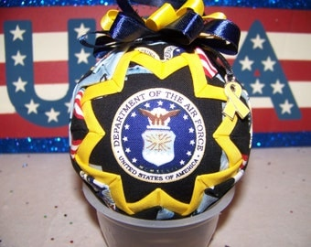 U.S. Air Force Quilted Ornament/Patriotic/Air Force Emblem/Military Quilted Ornament