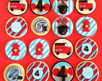 Set of Firetrucks cupcake/cookie toppers