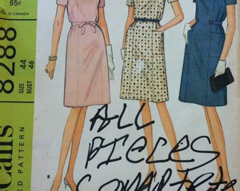 Vintage McCall's 8288 French Dart Dress Pattern Size 44 Uncut
