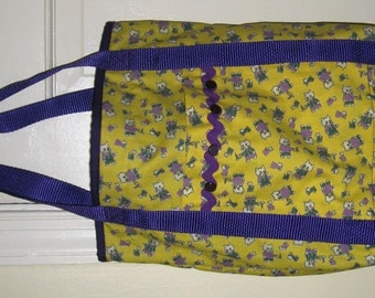 Cat Tote Bag Yellow and Purple Cats