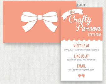 Girly Pink Ribbon Store Business Card   Design or Printed Cards