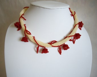 Lily of the valley necklace, Red and rice pudding, Seed bead necklace, Beadwork necklace, Herringbone stitch necklace
