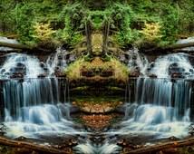Michigan Photography, Nature Photography, Nature Wall Art, Waterfall Forest, Trees, Fine Art Prints,Wagner Falls Art,  Waterfall Prints, Art