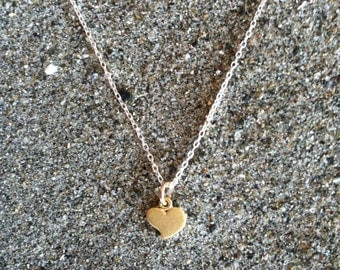 16K Matte Gold, Heart Necklace, Tiny Heart Pendant, Gold and Silver