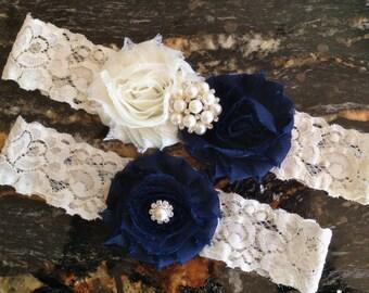 Wedding Garter Blue, Wedding Garter Navy, Navy Blue Wedding Garter, Navy Bridal Garter, Wedding Garter Set, Blue Garter Set, Garter Belt