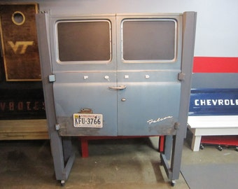 Ford van custom cabinet/storage; 1965 Ford Falcon van doors repurposed