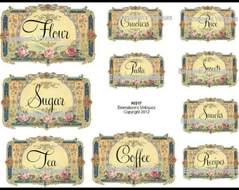 Vintage Victorian Kitchen Canister and Pantry Labels Waterslide Decals~KI317