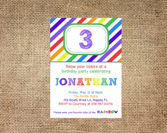 Rainbow Birthday Invite, personalized and printable, 5x7