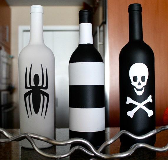 Items similar to 3 halloween decorative wine bottles for Bottle decoration ideas kids