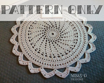 PATTERN ONLY - Crochet Doily Rug - Raspberry Sorbet - Handmade Circular Doily Style Floor Rug - 1m diameter