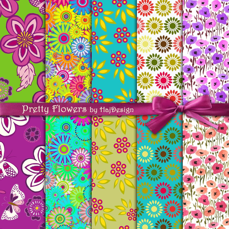 Scrapbook paper designs download - Floral Digital Paper Pretty Flowers Colorful Digital Paper With Flowers Digital Scrapbooking Paper Digital Invitations Backgrounds