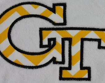 Appliqued Bib with Georgia Tech Black and Gold for boys and girls