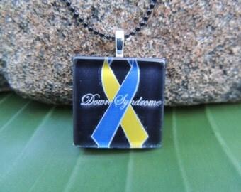 Glass Tile Pendant(Down Syndrome Awareness  Black)AT144