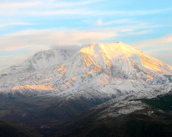 Mountain Print Nature Photography Mt. St. Helens Sunset Photography Snow-capped Mountain Fine Art Photography White Landscape Wall Art fPOE