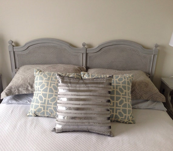 Vintage Queen Or Full Cane Headboard In Annie Sloan Paris Grey