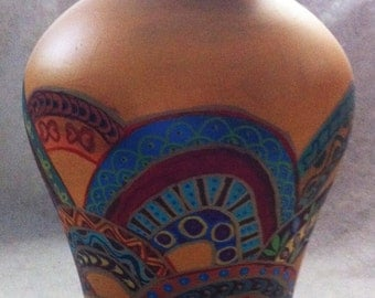 Hand Painted Bohemian Multi Colored Glass Vase
