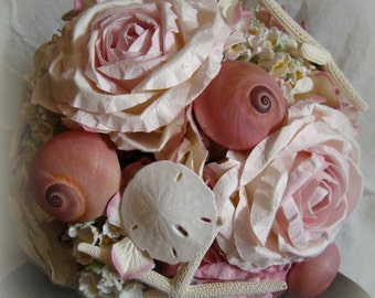 Nautical Wedding Bouquet, Pink Shell Bouquet, Sea Shell Bouquet, Nautical Bouquet, Beach Bouquet.