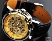 Man Steampunk Gold Mechanical Watch (VI0190-GOLD) - VivianGift