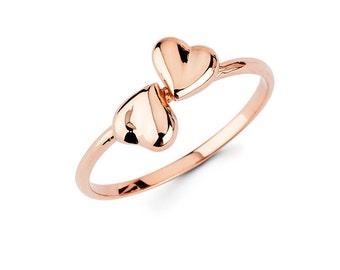 Double Heart, Heart, Heart Jewelry, Gold Heart, Heart Ring, Double Heart Ring, Hearts, Hearts Jewelry