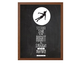 Peter Pan | Second Star Poster : Modern Typography Art Wall Decor Print 8 x 10 | INSTANT Digital Download Printable