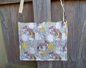 Yellow & Blue Fox Organic Messenger Bag with Cross Body Yellow Chevron