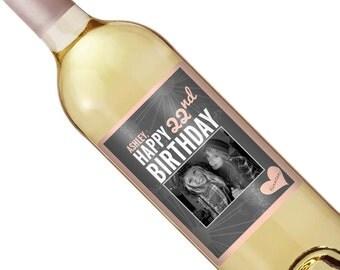 Birthday Wine Label - Personalized Wine Label - Custom Wine Label