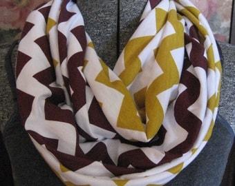 2 pack lot - 1 each Maroon and Gold Chevron MEDIUM length Infinity Scarves - school team colors - ChevronScarf