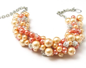 3 sets of Peach Cluster Necklace, Peach and Coral Pearl Necklace, Coral Beaded Chunky Necklace, Bridal Pearl Necklace,